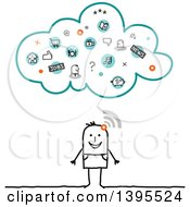 Clipart Of A Sketched Stick Man Connected To Apps On The Cloud Royalty Free Vector Illustration