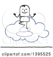 Clipart Of A Sketched Stick Man Meditating On The Cloud Royalty Free Vector Illustration