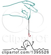 Clipart Of A Sketched Blue Hand Holding A Hook Over A Drowning Stick Man Royalty Free Vector Illustration