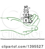 Clipart Of A Sketched Green Hand Holding Stick Animals Royalty Free Vector Illustration