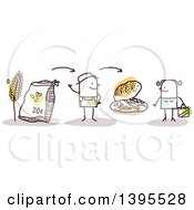 Clipart Of A Sketched Stick Man Baker Discussing Flour And Bread With A Female Customer Royalty Free Vector Illustration