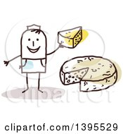 Clipart Of A Sketched Stick Man Making And Selling Cheese Royalty Free Vector Illustration