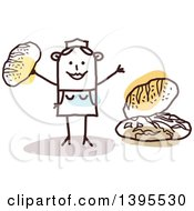 Clipart Of A Sketched Stick Woman Baker Making And Selling Bread Royalty Free Vector Illustration