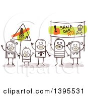 Clipart Of A Sketched Group Of Stick Protestors Against Shale Gas Royalty Free Vector Illustration