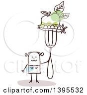 Clipart Of A Sketched Stick Woman Holding An Apple And Peas On A Fork Royalty Free Vector Illustration