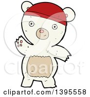 Clipart Of A Cartoon Polar Bear Wearing A Hat Royalty Free Vector Illustration