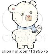 Clipart Of A Cartoon Polar Bear Wearing A Scarf Royalty Free Vector Illustration