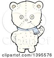 Clipart Of A Cartoon Teddy Polar Bear Wearing A Scarf Royalty Free Vector Illustration