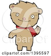 Clipart Of A Cartoon Brown Bear Wearing A Scarf Royalty Free Vector Illustration