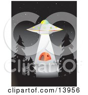 UFO Hovering Over A Campground And Abducting An Orange Tent Clipart Illustration by Rasmussen Images