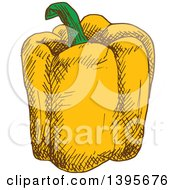 Clipart Of A Sketched Yellow Bell Pepper Royalty Free Vector Illustration