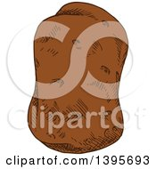 Clipart Of A Sketched Potato Royalty Free Vector Illustration