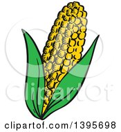 Clipart Of A Sketched Corn Royalty Free Vector Illustration by Vector Tradition SM