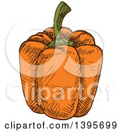 Clipart Of A Sketched Orange Bell Pepper Royalty Free Vector Illustration
