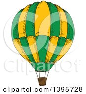 Clipart Of A Sketched Hot Air Balloon Royalty Free Vector Illustration