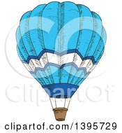 Clipart Of A Sketched Blue Hot Air Balloon Royalty Free Vector Illustration