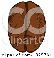 Clipart Of A Sketched Coffee Bean Royalty Free Vector Illustration