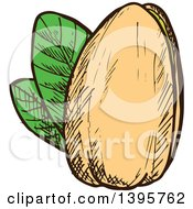 Clipart Of A Sketched Pistachio Royalty Free Vector Illustration by Vector Tradition SM