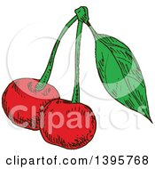 Clipart Of Sketched Cherries Royalty Free Vector Illustration by Vector Tradition SM