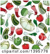 Clipart Of A Seamless Background Pattern Of Vegetables Royalty Free Vector Illustration by Vector Tradition SM