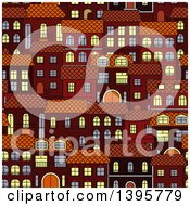Clipart Of A Seamless Background Pattern Of Town Homes Royalty Free Vector Illustration by Vector Tradition SM