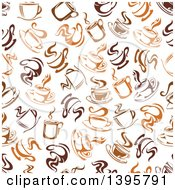 Seamless Background Pattern Of Steamy Brown Coffee Cups