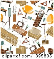 Clipart Of A Seamless Background Pattern Of Retro Furniture Royalty Free Vector Illustration