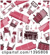 Clipart Of A Seamless Background Pattern Of Furniture Royalty Free Vector Illustration