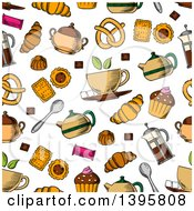 Poster, Art Print Of Seamless Background Pattern Of Tea And Snacks