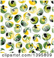 Clipart Of A Seamless Background Pattern Of Olives Royalty Free Vector Illustration