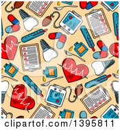 Clipart Of A Seamless Background Pattern Of Dental And Medical Items Royalty Free Vector Illustration
