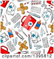 Clipart Of A Seamless Background Pattern Of First Aid Items Royalty Free Vector Illustration