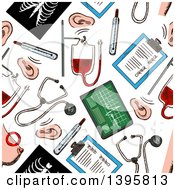 Clipart Of A Seamless Background Pattern Of Medical Items Royalty Free Vector Illustration