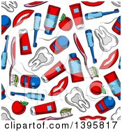 Clipart Of A Seamless Background Pattern Of Dental Items Royalty Free Vector Illustration