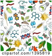 Seamless Background Pattern Of Bioengineering Items