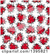 Seamless Background Pattern Of Hearts With Nails