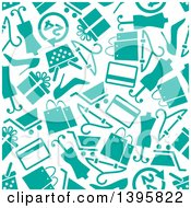 Clipart Of A Seamless Background Pattern Of Turquoise Shopping Icons Royalty Free Vector Illustration