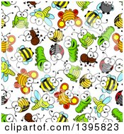 Seamless Background Pattern Of Bugs