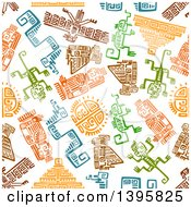 Clipart Of A Seamless Background Pattern Of Mayan Hieroglyphs Royalty Free Vector Illustration