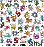 Clipart Of A Seamless Background Pattern Of Number Characters Royalty Free Vector Illustration