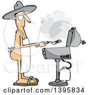 Clipart Of A Cartoon Nude White Man Wearing An Apron And Cooking On A Bbq Grill Royalty Free Vector Illustration