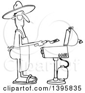 Cartoon Black And White Nude Man Wearing An Apron And Cooking On A Bbq Grill