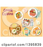 Clipart Of A Meal Of Greek Cuisine With Text On Orange Royalty Free Vector Illustration