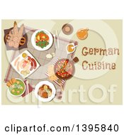 Clipart Of A Meal Of German Cuisine With Text Royalty Free Vector Illustration