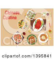 Clipart Of A Meal Of Chinese Cuisine With Text On Tan Royalty Free Vector Illustration