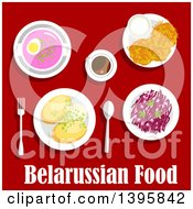 Clipart Of A Meal Of Belarussian Cuisine With Text On Red Royalty Free Vector Illustration