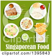 Poster, Art Print Of Meal Of Singaporean Cuisine With Text On Green