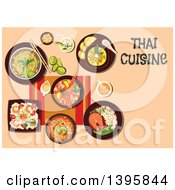 Clipart Of A Meal Of Thai Cuisine With Text On Orange Royalty Free Vector Illustration