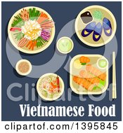 Clipart Of A Meal Of Vietnamese Cuisine With Text On Blue Royalty Free Vector Illustration