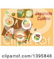 Clipart Of A Meal Of Japanese Cuisine With Text On Orange Royalty Free Vector Illustration by Vector Tradition SM